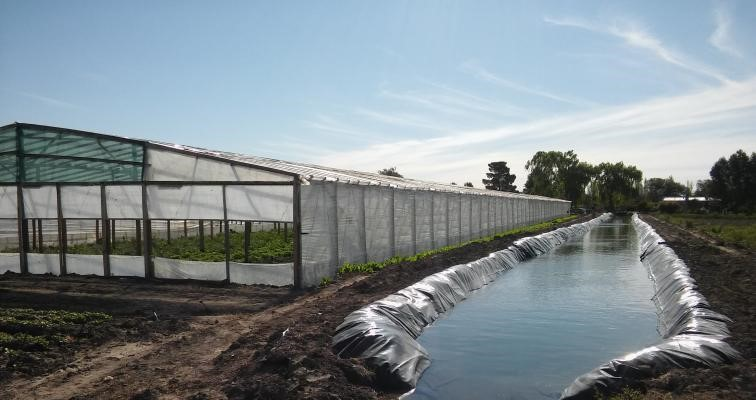 Reservorios de agua con geomembrana